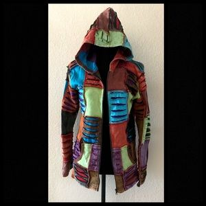Boho Hippie Colorful Zip Up Hooded Jacket